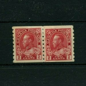 #127 TWO cent Admiral coil PASTE-UP PAIR VF MH Cat$150 Canada mint