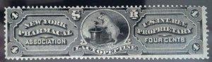 Scott #RS187b - 4c Black - Silk Paper - New York Pharmacal Association