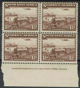 SOUTH WEST AFRICA 1937 TRAIN 11/2D IMPRINT BLOCK MNH **