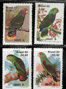 Brazil Scott 1715-1718 MNH** 1980 Parot Bird stamp set