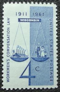 US #1186 MNH Single, Workman's Compensation, SCV $.25