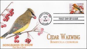 2016, Songbirds in Snow, Cedar Waxwing, FDC, 16-243
