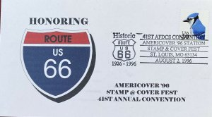 KH Cachets 3053 Bluejay Honoring US Route 66 Americover 1996 St Louis, MO