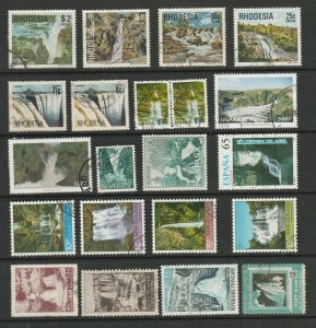 20 Waterfall Stamps. Fine Used
