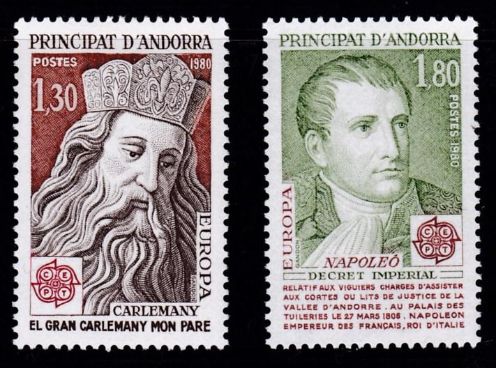 French Andorra 1980 Europa Issue Complete (2)  Napoleon  VF/NH(**)