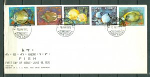 ETHIOPIA 1970  FISH #558-62...SET on FDC