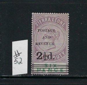 SIERRA LEONE SCOTT #52 1897 OVERPRINT/SURCHARGE 2 1/2 ON 6P - MINT NEVER HINGED