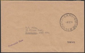PAPUA NEW GUINEA 1974 official cover small POSTMASTER DARU h/stamp..........G845