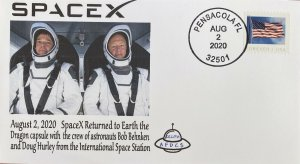 AFDCS SPACE X Returns Earth 8-2-2020 Dragon Crew Capsule Bob Benken Doug Hurley
