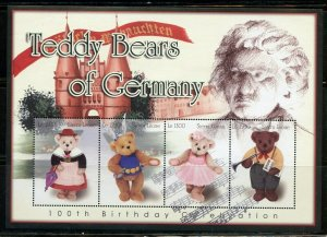 Sierra Leone MNH S/S Teddy Bears Of Germany 4 Stamps