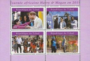 Chad - 2019 Harry & Megan African Tour - 4 Stamp Sheet - 3B-728