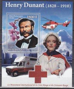 Mali, 2009 issue. Henri Dunant, Red Cross s/sheet. ^