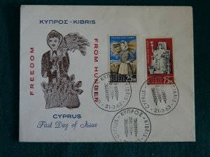 Cyprus 1963 Freedom from Hunger set Unofficial FDC.