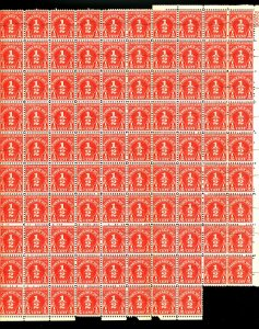 U.S. #1/2 CENT POSTAGE DUE SHEET 98 STAMPS PERF SEPERATIONS OG NH