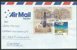 AUSTRALIA 1991 cover to Germany - nice franking - Sydney pictorial pmk.....12856