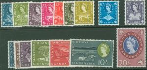 Kenya Uganda Tanganyika 1960 Scott 120-35 QE2 & Scenes MNH