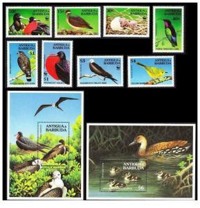 Antigua and barbuda 1994 wwf birds set+2s/s MNH