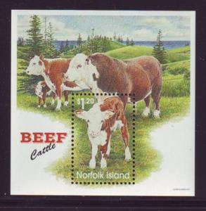Norfolk Island Sc 616 1997 Beef Cattle stamp sheet mint NH