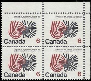 Canada #506 1970 Used Corner Block of 4
