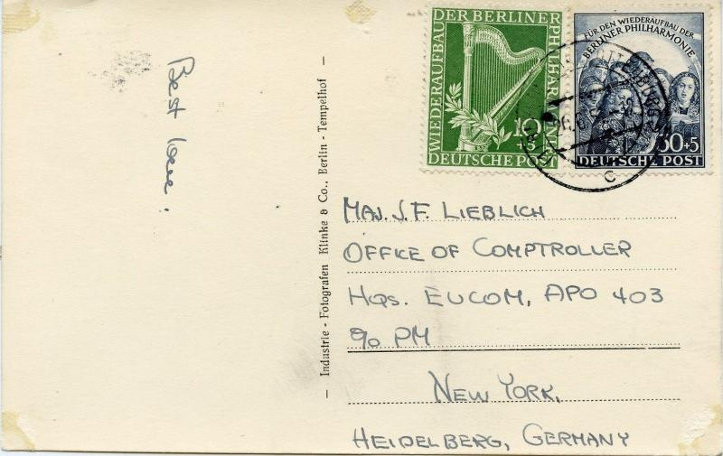 Scarce In-Period Use of Germany Scott 9BN4 & 9BN5 on 1951 Airmail APO Post Card