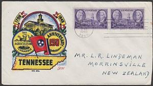 USA 1946 FDC to New Zealand - 3c Tennessee.................................57713