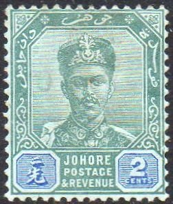 Johore 1896 2c green and blue MH