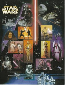 Stamp US Sc 4143 Sheet 2007 Star Wars Anniv. Darth Vader Yoda Skywalker Obi MNH