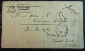1899 Russia Registered Commercial Cover To Pittsburg Pa USA Back Stamp