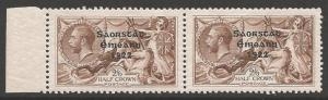 IRELAND SG64+64b 1922 2/6 CHOCOLATE-BROWN ONE WITH NO ACCENT MNH