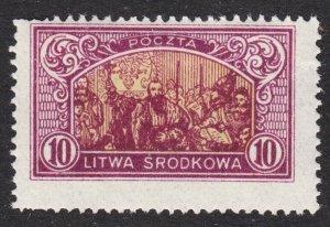 Central Lithuania Scott 41 perf 13 1/2 Fine mint OG HHR. Lot # A.