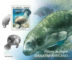 Angola - 2019 West African Manatee - Stamp Souvenir Sheet - ANG190210b