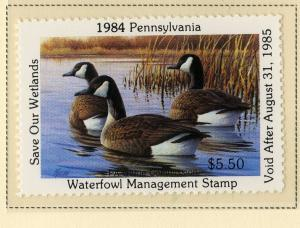 US PA2 PENN STATE DUCK STAMP 1984 MNH SCV $10.00 BIN $5.00
