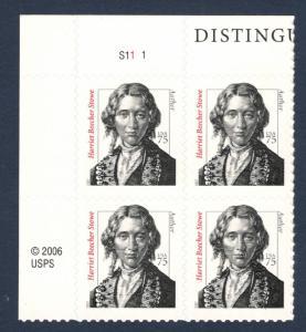 3430 Harriet Beecher Stowe Plate Block Mint/nh FREE SHIPPING