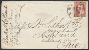 #11a ON COVER FEB 22,1852 NYC 3-BARS EXPERIMENTAL POSTMARK BR3079