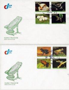 COSTA RICA FAUNA and FLORA, FROG,BAT, Sc 377-384 SET OF 2 FDC 1986