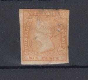 Australia Victoria QV 1854 6d Orange Imperf SG32a Cat £400 MH JK1033