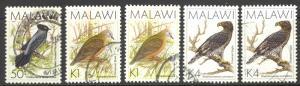 Malawi Sc# 528-532 SG# 799/803 Used 1988 Birds Assorted