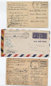 Three 1943 WWII APO covers (NorthAfrica and Canal Zone) [y1843]