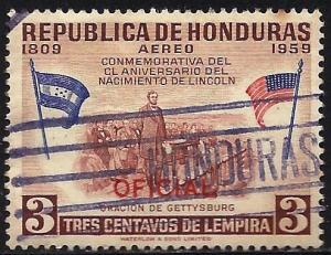 Honduras Air Mail Official 1959 Scott# CO100 Used