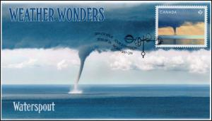 CA18-037, 2018, Weather Wonders, Pictorial, FDC, Waterspout