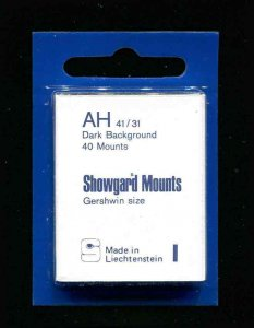 Showgard Black Stamp Mounts AH 41/31 PreCut  (40 count)
