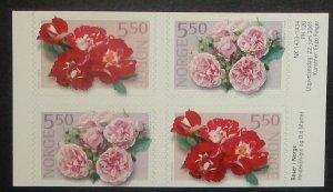 Norway 1303-04. 2001 Rose Varieties, booklet pane of four, NH