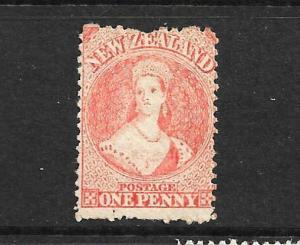 NEW ZEALAND 1864-67  1d  ORANGE   FFQ  MNG  P12 1/2   CP A1M5   SG 112 CHALON