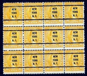 US Scott #562 Monroe New York, N.Y. 1922, 10c Block of 12 Precancel