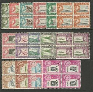British Virgin Islands 1964 Set As Blocks Of 4 unmounted mint SG178-192 CV £320