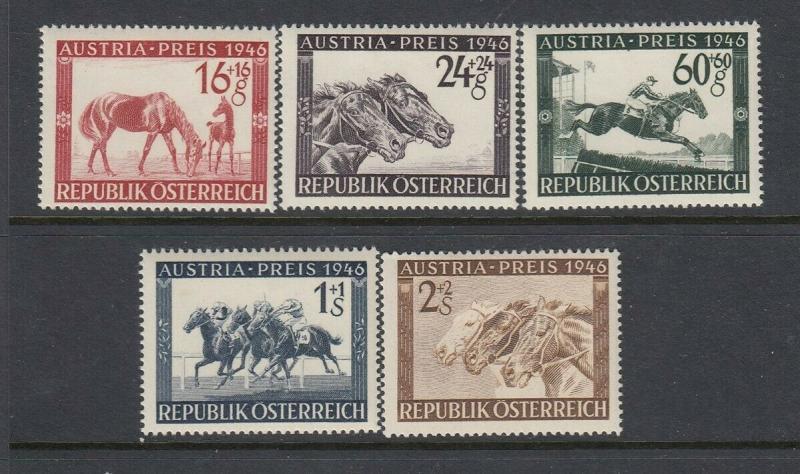 Austria #B179-183 Horse Race Issues (Mint - Hinged) cv$12.15