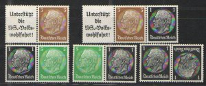 Germany - Third Reich 1933-36 Zusammendrucke lot MH VG   Hindenburg issues