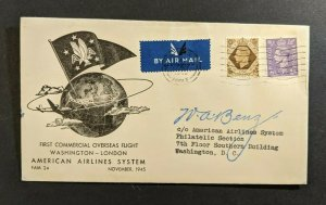 1945 England First Flight Cover to Washington DC American Airlines Pilot Signed