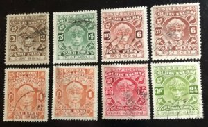 Cochin India Feudatory State Scott#41-5, 47 Group 8 stamps F/VF Cat. $4.40