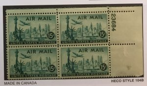 US #C35 PB (MNHOG) [Plate Block Mint No Hinge Original Gum] Liberty Airmail